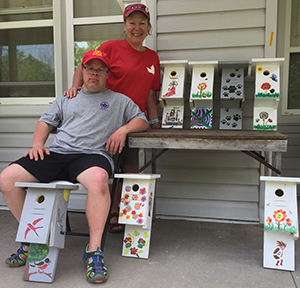 Display of birdhouses built and decorated at a workshop hosted by Langford Conservancy